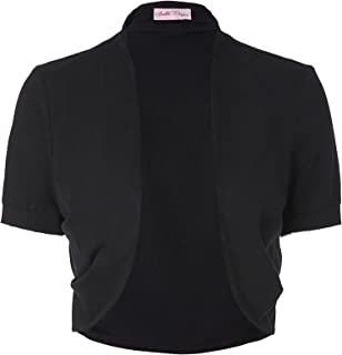Women's Short Sleeve Shrug Open Front Cotton Cardigan Bolero Jacket