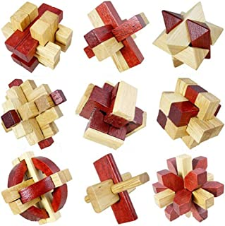 Littlefun 3D Wooden Brain Teaser Puzzles Building Brick Chinese Traditional Interlocked Lock Block Intelligence Travel Toys Adults Leisure Games (9 Pieces Set)