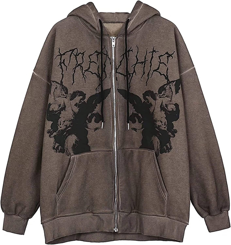 Fairy Grunge Clothes Women's Y2K Vintage Full Zipper Zip Up Hoodie Aesthetic Pullover Sweatshirt E-Girl 90s Streetwear Jacket