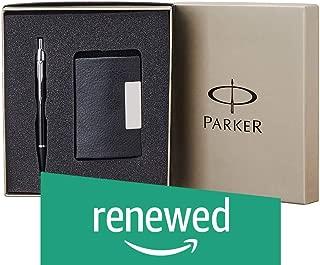(Renewed) Parker IM Metal Black Chrome Trim Ball Pen Gift Set - Blue Ink, with Card Holder