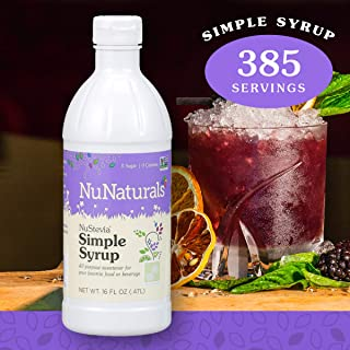 NuNaturals NuStevia Sugar-Free Simple Syrup Natural Stevia Sweetener with 0 Calories, 0 Sugar, 0 Carbs, 385 Servings (16 oz)