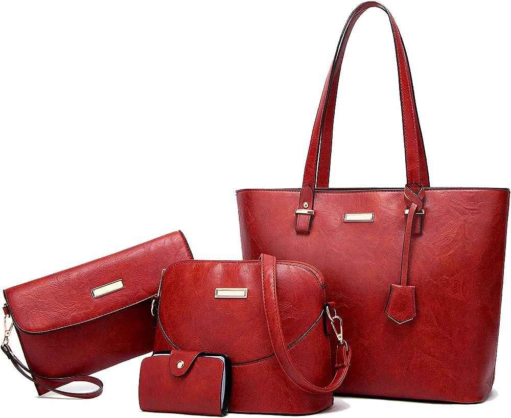 Tcife, borsa multiuso, tote, tracolla, pochette, da donna, in pelle sintetica NJSB00029EU-Wine