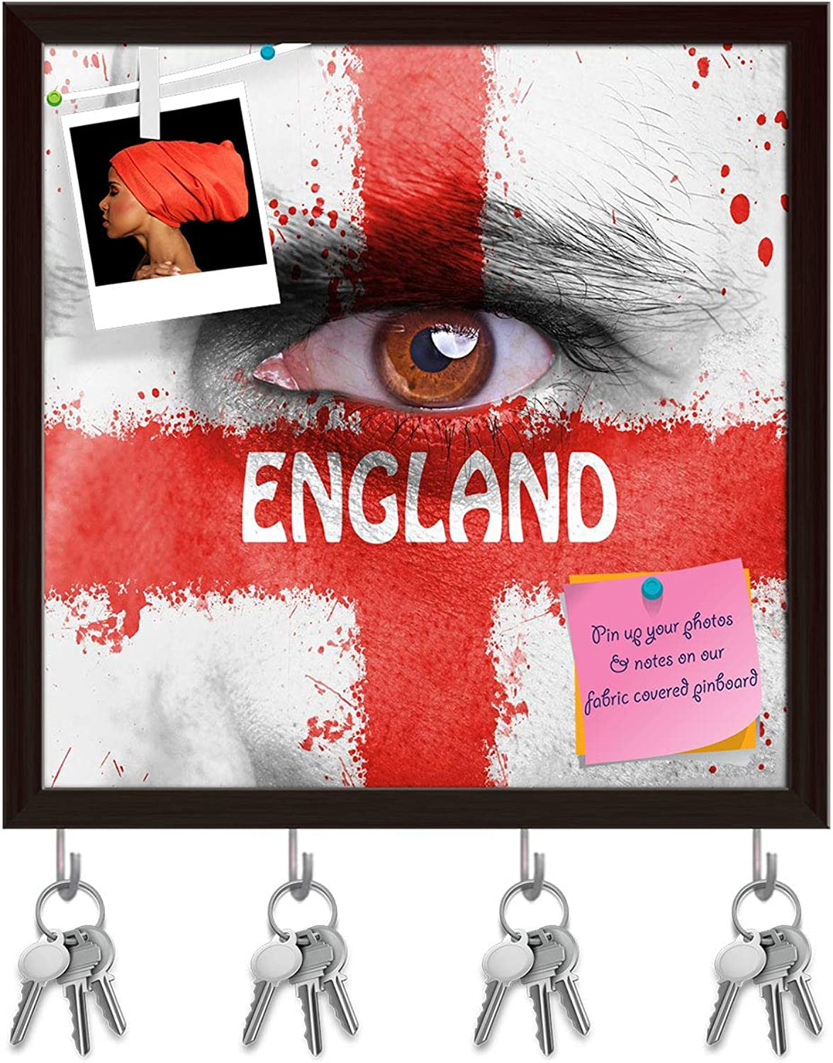 Artzfolio England Flag Painted On Angry Man Face D2 Key Holder Hooks   Notice Pin Board   Dark Brown Frame 20 X 20Inch