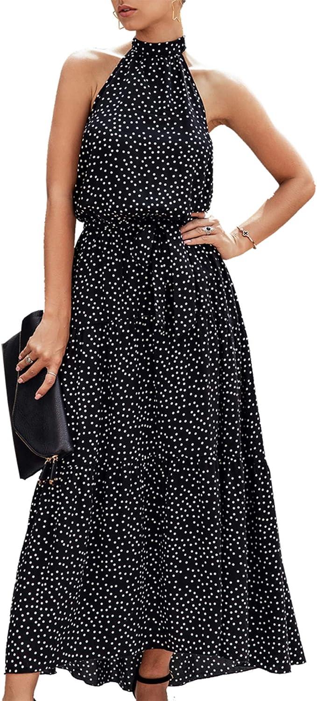 PRETTYGARDEN Women's Casual Halter Neck Sleeveless Floral Long Maxi Dress Backless Loose Ruffle Sundress with Belt