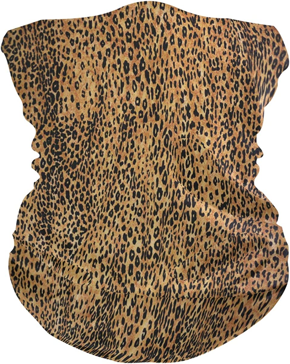 ALAZA Leopard Animal Print Texture Headwear Magic Scarf Headband Bandana Neck Gaiters Outdoor Sports for Women Man
