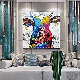 Lienzo Art Print Poster Abstract Realism Farm Cow Animal Pintura al óleo Cuadros de pared para sala de estar Decoración pa...