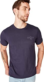 Cotton On Men's Graphic T-shirt, True Navy/Altered States