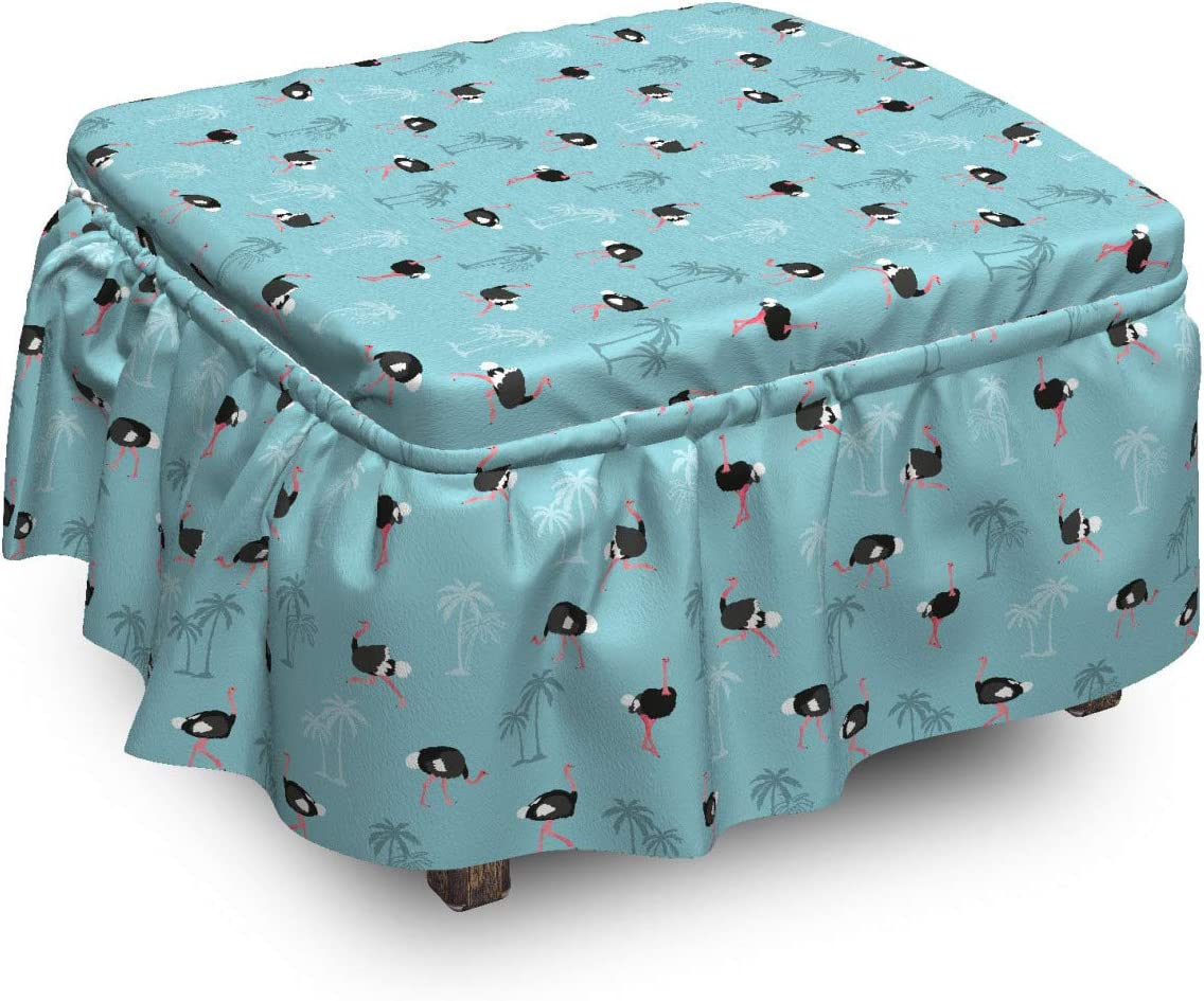 Lunarable Tropical Ottoman Cover NEW before selling ☆ Ostrich 2 and Birds 67% OFF of fixed price Palms Pie