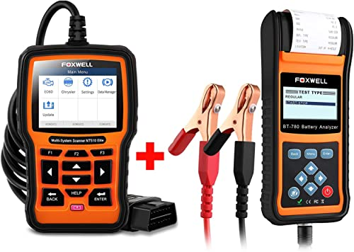 2021 FOXWELL Car Battery Load Tester for 12V 24V Auto lowest Batteries Analyzer with Built-in Thermal Printer with Foxwell NT510 new arrival for Chrysler Car Scanner sale