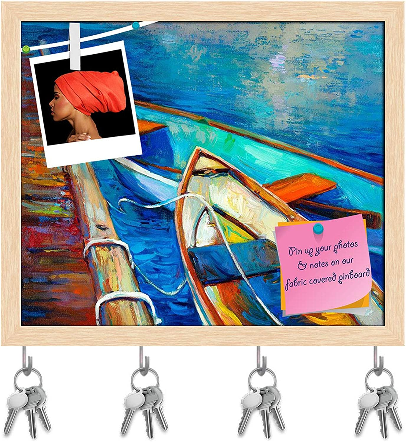 Artzfolio Artwork of Boat & Jetty D4 Key Holder Hooks   Notice Pin Board   Natural Brown Frame 18.9 X 16Inch