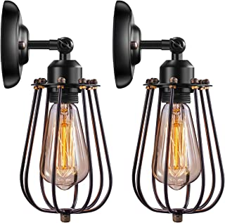 Wire Cage Industrial Wall Sconce Elibbren E26 Base Adjustable Metal Cage Vintage Style Wall Lighting Fixtures for Headboard Bedroom Porch Farmhouse Garage Restaurant 2 Pack