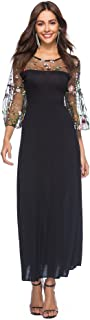 BaronHong Women's Sheer Mesh Floral Embroidery Party Maxi Dress With Pagoda Sleeves(black,XXXL)