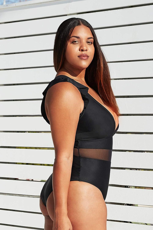 CUPSHE Women's One Piece Plus Size Black V Neck Ruffle Mesh Bathing Suit