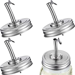 Blulu 4 Pieces Mason Jar Oil Spout Lid Oil Pour Spout Dispenser Lids Oil Spout Lids with Caps