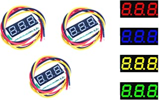 NOYITO 0.28 inches LED Ultra-small DC Digital 0-100V Voltmeter 3-Wire 2-Wire Battery Voltage Tester Red Blue Yellow Green Four Colors Display 4.0-40 Volt Power Supply(Pack of 3) (Yellow)