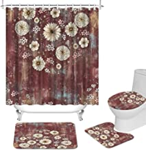 4 Pcs Floral Bathroom Set with Non-Slip Rug Toilet Lid Cover Bath Mat Burgundy Shower Curtain Set with Rugs and Mats Sprin...