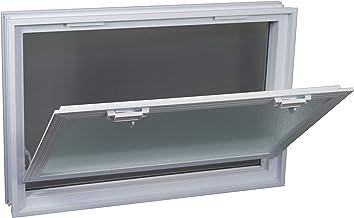 Ventana practicable: para el montaje en la pared de bloques de vidrio - 579x384mm, en lugar de 6 bloques de cristal 19x19x8 cm horizontal