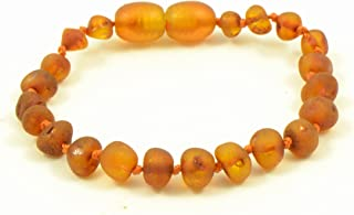 Amber Teething Bracelet, Amber teething Anklet for Baby, Genuine Raw Baltic Amber Bead Anklet, Unpolished Amber, Anti-Inflammatory, Hand-Made, Knotted, Various Sizes (Raw Cognac, 6.3 in (16cm))