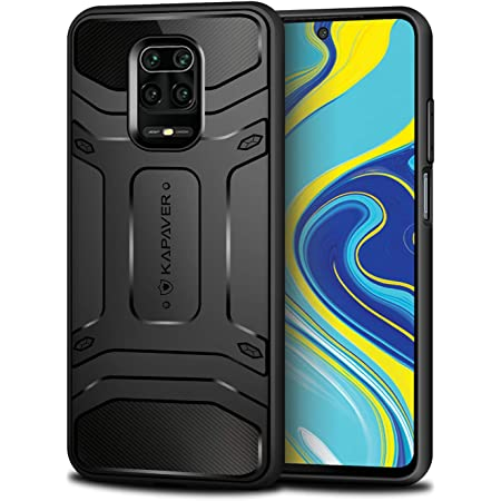 KAPAVER® Rugged Back Cover Case for Xiaomi Redmi Note 9 Pro/Redmi Note 9 Pro Max/Poco M2 Pro MIL-STD 810G Officially Drop Tested Solid Black Shock Proof Slim Armor Patent Design - (Black)