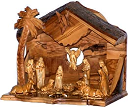 Holy Land Market Musical Olive Wood Nativity Set with Rustic Stable (Bark Roof) - Glued Alabaster Pieces (8 Inches)