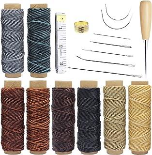 Homgaty - 18 piezas de herramientas de cuero para manualidades con agujas de coser a mano, taladro, hilo encerado y dedal para tapicería de cuero alfombra lienzo DIY accesorios de costura