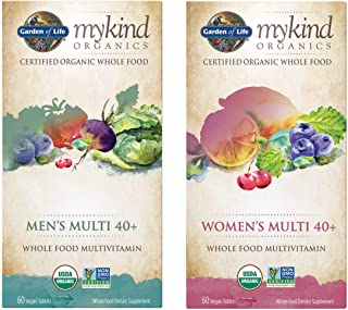 Garden of Life MyKind Organics Women's 40+ and Men's 40+ Multi Whole Food Supplement Bundle 60 Vegan Tablets (Pack of 2)