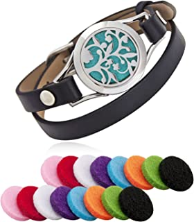 Aroma Essential Oil Diffuser Bracelet, Stainless Steel Aromatherapy Locket Bracelets with 16 Color Pads, Adjustable Leather Band with Jewelry Gift Box