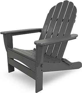 POLYWOOD AD7030GY Classic Oversized Curve Back Adirondack Chair, Slate Grey