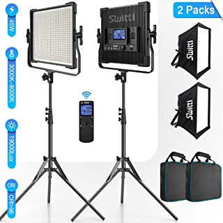 Switti 2-Packs 600 LED Video Light, CRI96+ Dimmable Bi-Color 3000K-8000K Panel Light, Photography Lighting Kit with Light Stand Softbox, for Portrait Product Shooting Video Recording