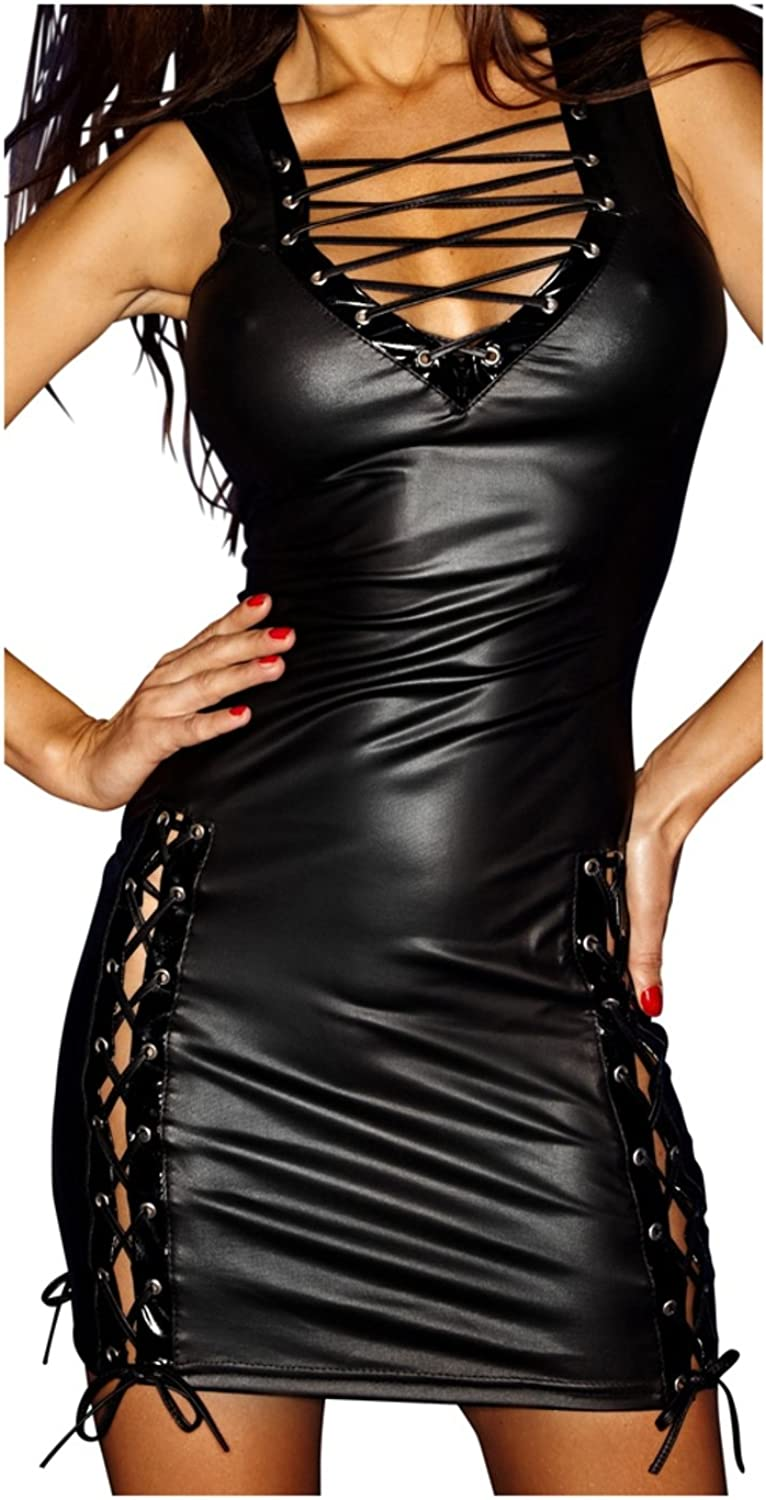 black Handmade Short Wetlook Dress with Lacing