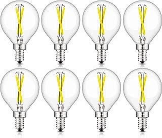 CRLight 2W Candelabra LED Globe Bulb Daylight White 5000K, 30W Equivalent 300LM Dimmable, E12 Base Vintage Edison G16 LED Filament Bulbs for Chandelier Ceiling Fan Bathroom Vanity Mirror, 8 Pack