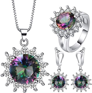 VPbao Cubic Zirconia Plated Silver Chain Necklace Earrings Ring CZ Jewellery Set Multicolor