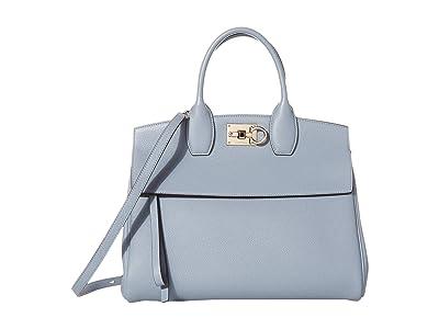 Salvatore Ferragamo The Studio Grainy Medium Top-Handle (Stormy Sky) Handbags