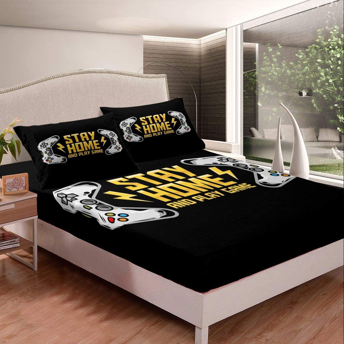 Gamepad Fitted Sheet Teens Price reduction Gamer Bedding trust Shee Bed Video Game Set