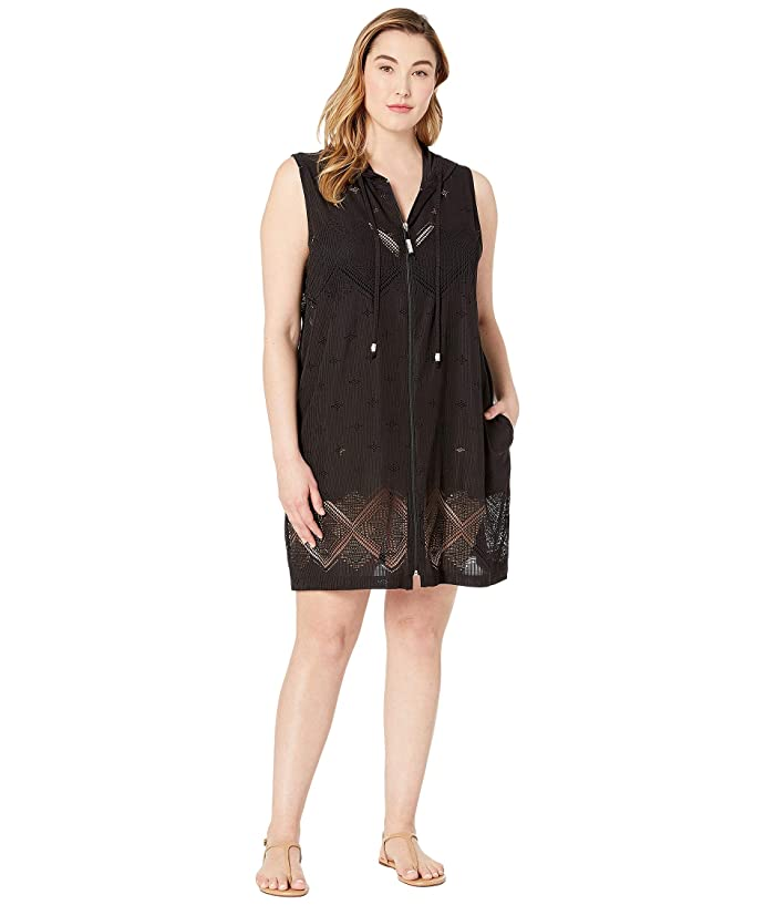 DOTTI Plus Size Santorini Tile Dress Cover-Up (Black) Women