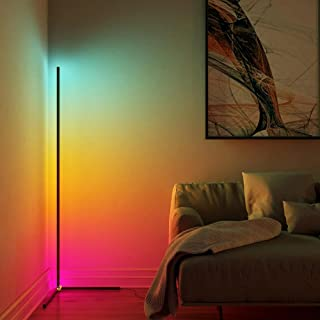 Modern Bright LED Corner Floor Lamp with Remote - Smart Bluetooth App Control RGB Color Changing Standing Lamp Corner Wall...