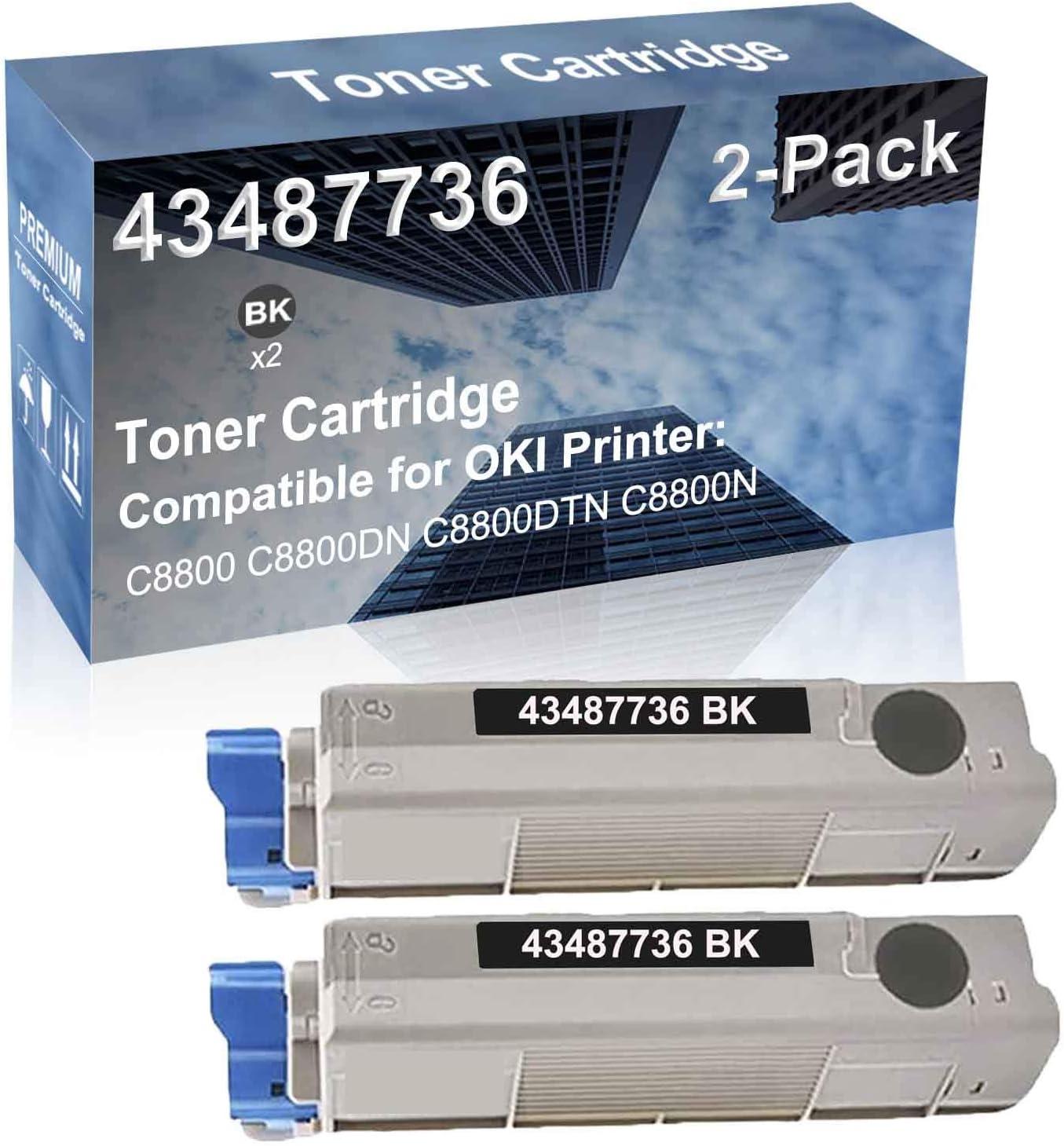 2-Pack (Black) Compatible C8800 C8800DN C8800DTN C8800N Printer Toner Cartridge High Capacity Replacement for Oki 43487736 Toner Cartridge