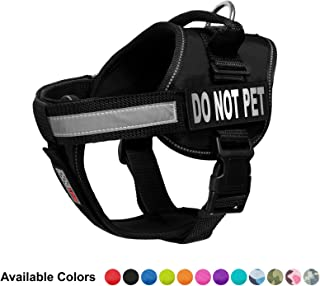 """Dogline Vest Harness for Dogs and 2 Removable Do Not Pet Patches, Large/28"""" to 38"""", Black"""