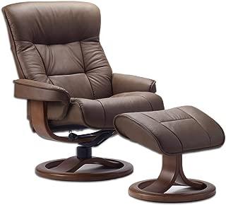 Fjords 775 Bergen Large Recliner and Ottoman Norwegian Ergonomic Scandinavian Lounge Reclining Chair Furniture Nordic Line Genuine Havana Dark Brown Leather Cherry Wood
