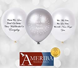 (Variety Pack) - Biodegradable Remembrance Balloons: 30pc White & Silver Funeral Balloons for Balloon Releases & Sympathy Gifts Created/Sold by AMERIBA, a USA company (Variety Pack)