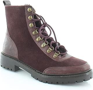 Womens Ilianna Leather Wool Combat Boots, Raisin Suede, Size 6.5