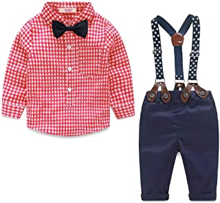 Nwada Baby Boy Clothes Newborn Boys Outfits Clothing Sets Infant Gentleman Suits 2pcs Bow Tie Shirts and Suspenders Pants