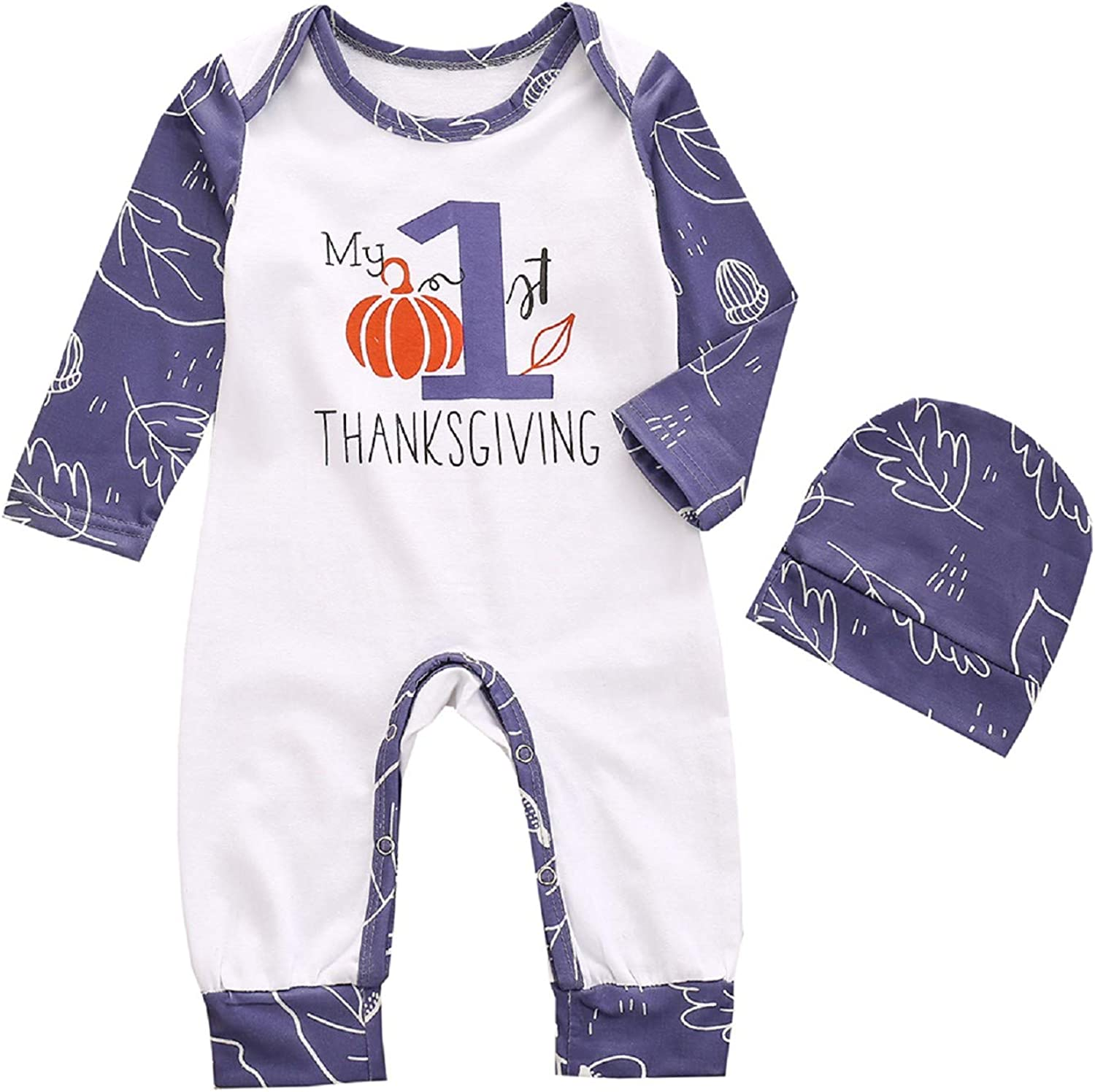 topseller-hzy 2 Pieces/Set 0-24M Baby and Toddler Thanksgiving Clothes Set, Long-Sleeved Romper+ Hat Casual Set