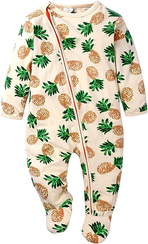 Autumn Max 69% OFF Baby Kids Double Zipper Pajamas Clothes Print Ro 4 years warranty Sleeping