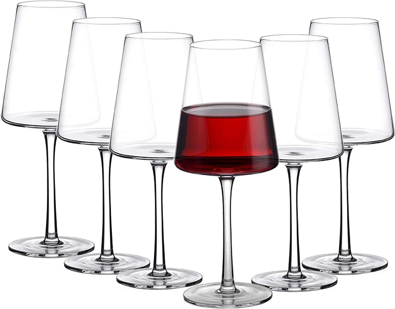 Amisglass Copas de Vino, Copa de Vino Blanco Crtistal de Primera Calidad sin Plomo, Juego 6 Piezas Uso en Casa, Restaurante y en Fiestas | Apto para Microondas y Lavavajillas - 500 ml
