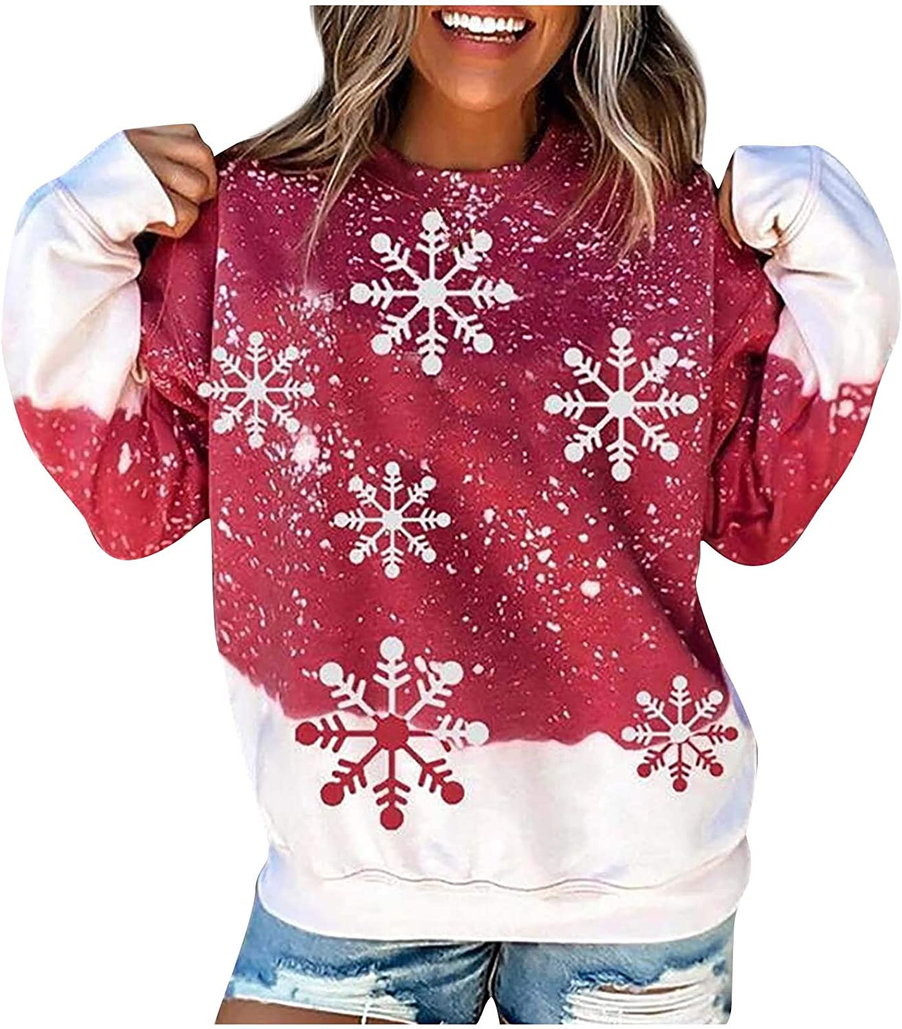 Women's Casual Long Sleeve Pullover Christmas Snowflake Print Blouse Fashion O Neck Sweater Gradient Loose Tops