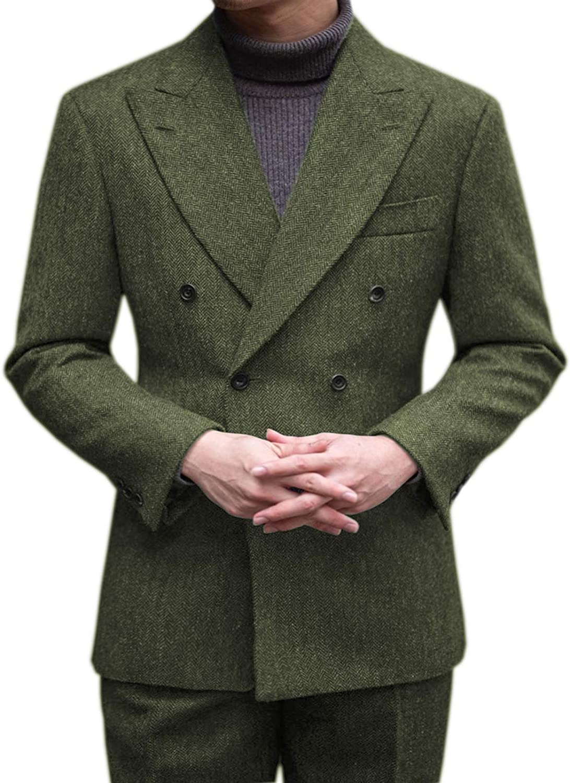 Aesido Men's Suits Casual Slim Fit Double Breasted Peak Lapel Tweed Wool Tuxedos Blazer+Pants 2 Piece for Wedding Grooms