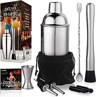 24 oz Cocktail Shaker Bartender Set by Aozita, Stainless Steel Martini Shaker, Mixing Spoon, Muddler, Measuring Jigger, Li...