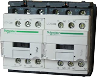Square D LC2D18B7 18 AMP, 3-pole reversing contactor with 2 N.O. and 2 N.C. base contacts and a 24v50/60Hz coil