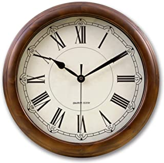 kesin Silent Wall Clock Wood 14 Inches Retro Round Classic Wall Clocks Large Decorative Battery Operated Non Ticking Analo...